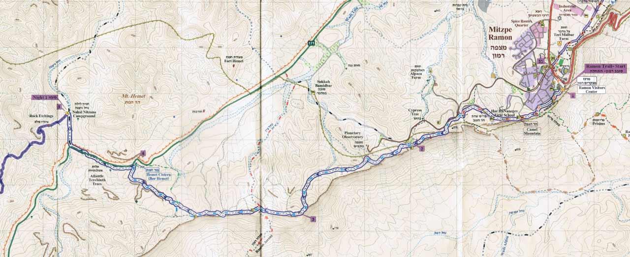 מפה טופוגרפית - סובב רמון - יום 1