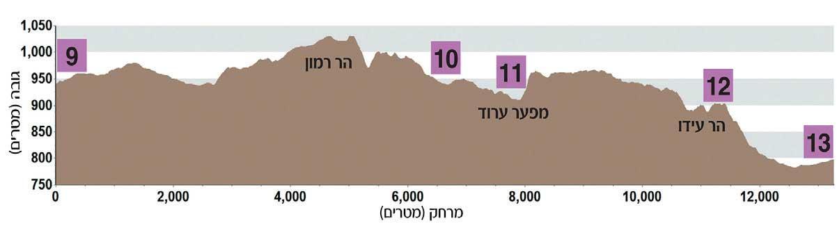 מסלול סובב מכתש רמון - מפת גבהים של היום השלישי