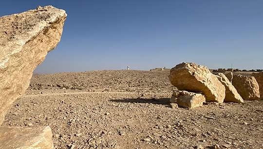 פסל עשוי מסלעים במדבר