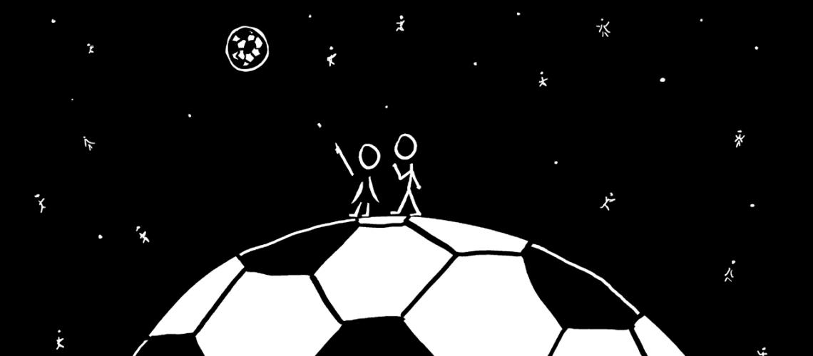 איש ואישה עומדים על כדורגל וצופים ביקום